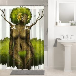 African Afro Hair Afrocentric Black Woman 120 Shower Curtain Waterproof Bathroom Decoration