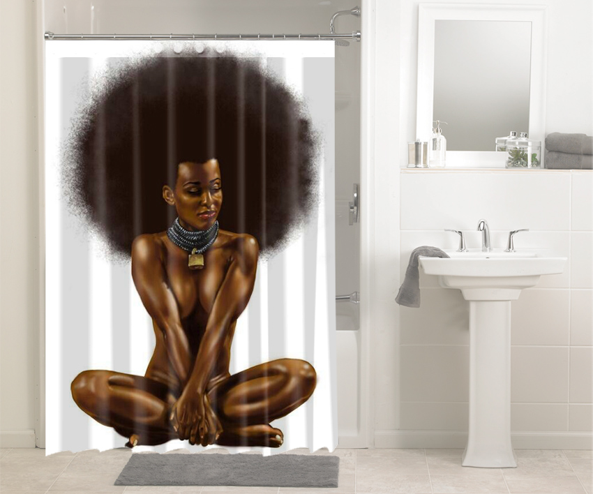 African Afro Hair Afrocentric Black Woman 121 Shower Curtain Waterproof Bathroom Decoration