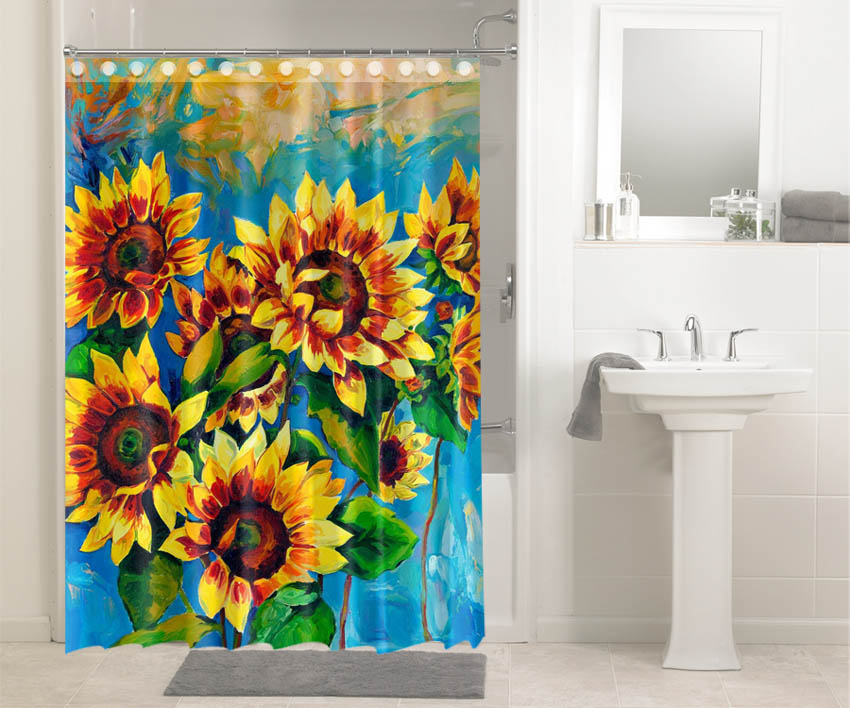 Sunflower Water Painting #3616 Shower Curtain Waterproof Bathroom Decor