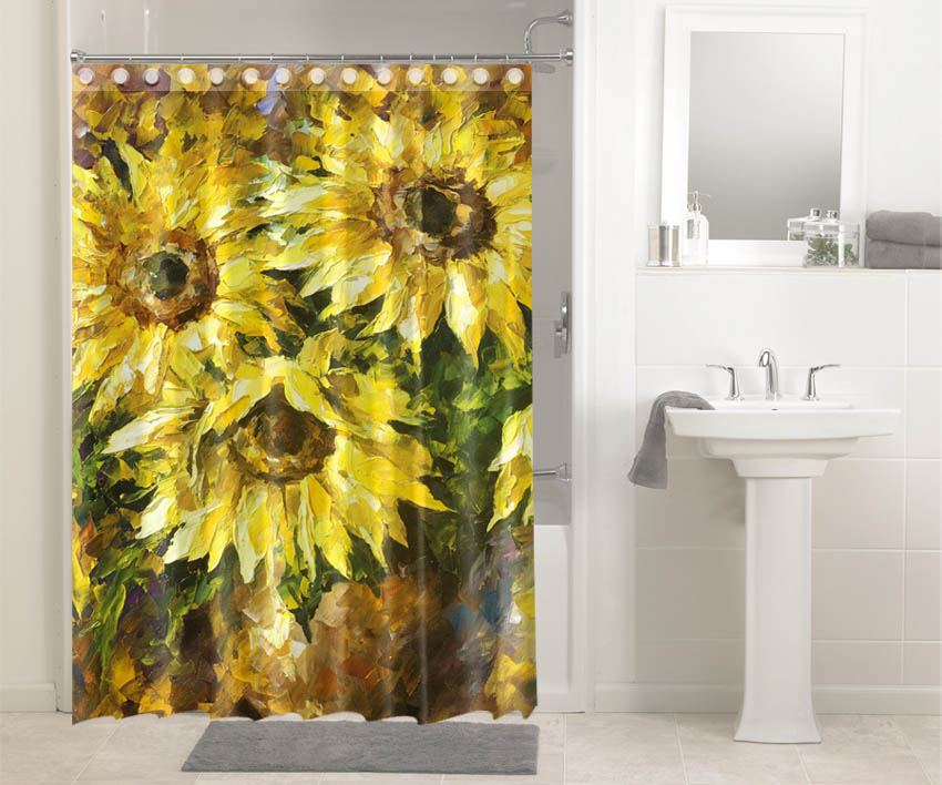Sunflower Water Painting #3621 Shower Curtain Waterproof Bathroom Decor