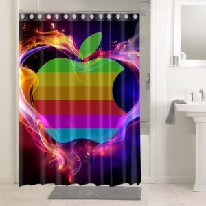 Apple Stripes Colors #4697 Waterproof Shower Curtain Bathroom Decoration