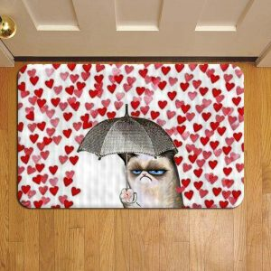 Grumpy Cat Umbrella Hearts Falling Door Steps Foot Doormat Rug Mat
