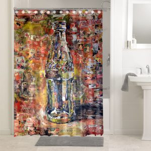 Coca Cola Shower Curtains Bathroom Decoration Waterproof Polyester Fabric.