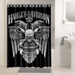 Harley Davidson Cycle #4755 Bathroom Shower Curtain Decor