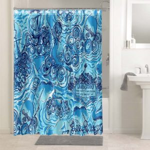 Lilly Pulitzer Dark And Stormy #4775 Bathroom Shower Curtain Decor