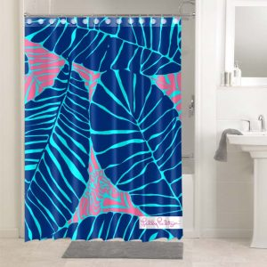 Lilly Pulitzer Blue Leaves #4764 Shower Curtain Bathroom Decoration