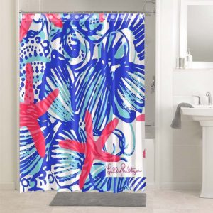 Lilly Pulitzer She She Shells #4767 Waterproof Shower Curtain Bathroom Decoration