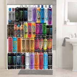 Monster Energy All Cans Drink #4816 Bathroom Curtain Shower Decoration