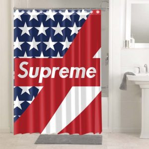 Supreme USA Flag #4914 Shower Curtain Bathroom Decoration
