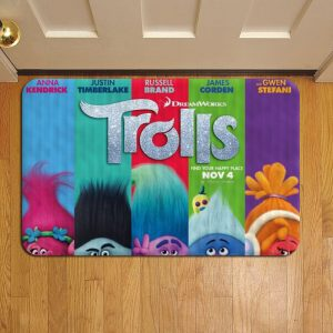 Trolls Movie Doormat Foot Rug Door Mat Steps