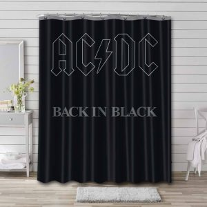 AC/DC Back In Black Shower Curtain Waterproof Polyester