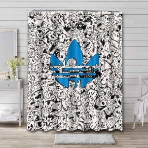 Adidas Doodle Shower Curtain Waterproof Polyester