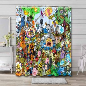 Adventure Time Shower Curtain Waterproof Polyester