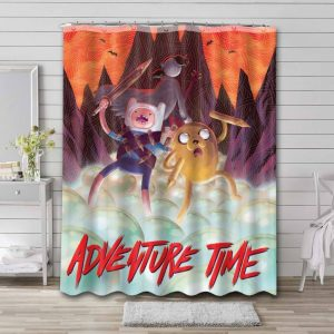 Adventure Time Characters Shower Curtain Bathroom Decoration