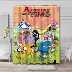 Adventure Time Shower Curtain Bathroom Decoration Waterproof Polyester Fabric.
