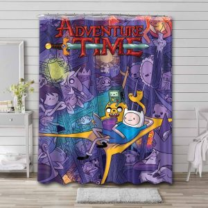 Adventure Time Characters Shower Curtain Waterproof Polyester