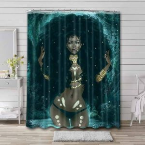Afrocentric Woman Shower Curtain Waterproof Polyester Fabric