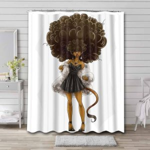 Afrocentric Woman Bathroom Shower Curtain Waterproof Polyester