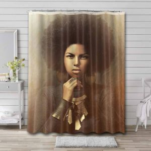 Afrocentric Hair Shower Curtain Waterproof Polyester Fabric
