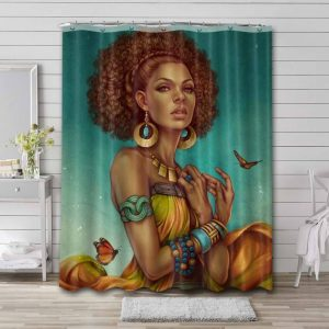 Afrocentric Bathroom Shower Curtain Waterproof Polyester