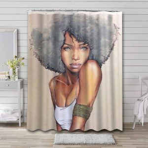 Afrocentric Bathroom Curtain Shower Waterproof Fabric