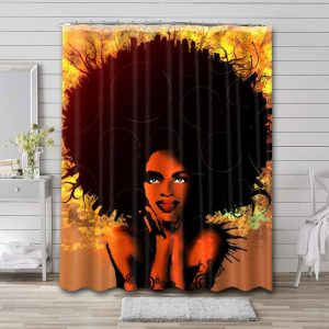 Afrocentric African Bathroom Curtain Shower Waterproof Fabric