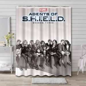 Marvel Agents of S.H.I.E.L.D. Shower Curtain Bathroom Waterproof