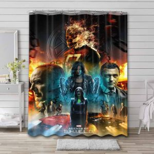 Marvel Agents of S.H.I.E.L.D. Waterproof Shower Curtain Bathroom