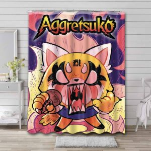 Aggretsuko Characters Shower Curtain Waterproof Polyester