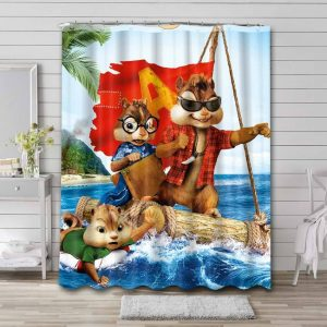 Alvin and the Chipmunks Cartoon Shower Curtain Waterproof Polyester