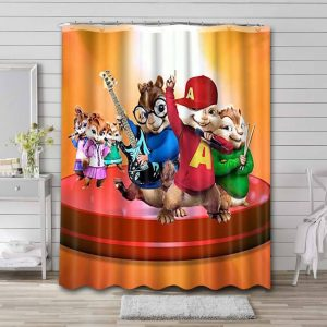 Alvin and the Chipmunks Characters Waterproof Shower Curtain Bathroom