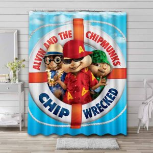 Alvin and the Chipmunks Chip Wrecked Waterproof Bathroom Shower Curtain