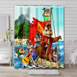 Alvin and the Chipmunks Bathroom Shower Curtain Waterproof