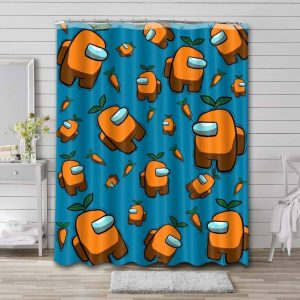 Among Us Shower Curtain Waterproof Polyester