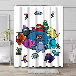 Among Us Characters Shower Curtain Bathroom Decoration