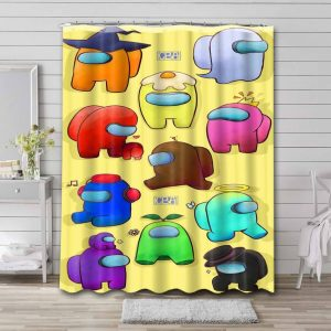 Among Us Characters Shower Curtain Waterproof Polyester