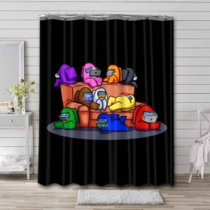 Among Us Shower Curtain Bathroom Decoration Waterproof Polyester Fabric.