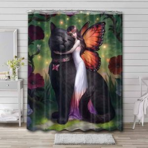 Cat Fairy Butterfly Shower Curtain Waterproof Polyester