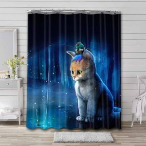 Cat Frog Fishing Shower Curtain Waterproof Polyester