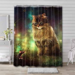 Cat With Mouse Photo Waterproof Curtain Bathroom Shower
