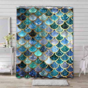 Fish Scale Shower Curtain Waterproof Polyester