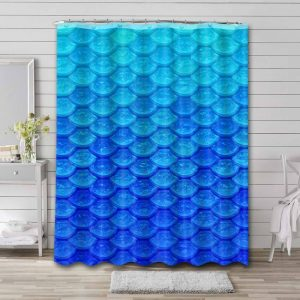 Fish Scale Ombre Waterproof Shower Curtain Bathroom