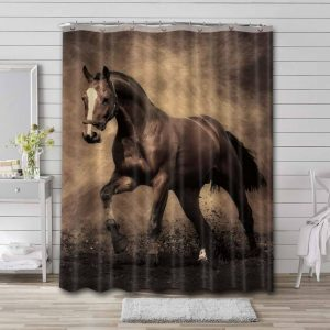 Horse Shower Curtain Waterproof Polyester