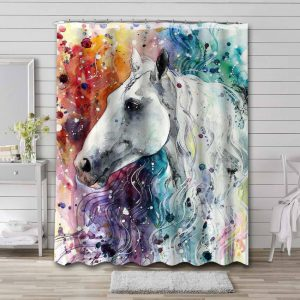 Horse Head Painting Shower Curtain Waterproof Polyester