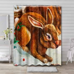 Rabbit Easter Shower Curtain Waterproof Polyester