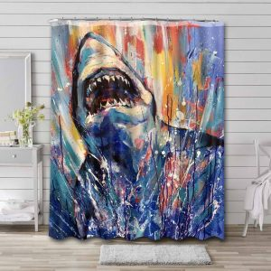 Great White Shark Attack Shower Curtain Waterproof Polyester
