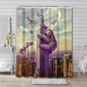 Sloth Empire State Building Shower Curtain Waterproof Polyester