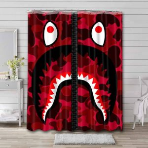 A Bathing Ape Camouflage Shark Shower Curtain Waterproof Polyester