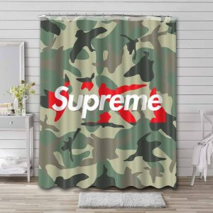 A Bathing Ape Camo Supreme Shower Curtain Waterproof Polyester