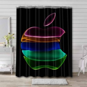 Apple Inc Colorful Logo Shower Curtain Waterproof Polyester